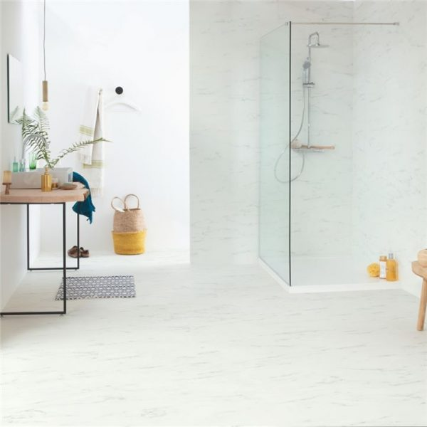 אריחי בטון, פרקט למינציה במראה שיש לבן 100% עמיד במים