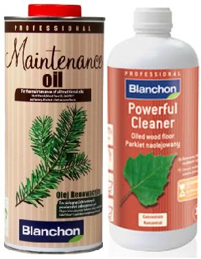 חבילת נקיון יסודי לפרקט עץ בגמר שמן בלנשון (BLANCHON) סבון & שמן תחזוקה